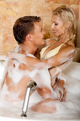 Couple enjoying in a tub