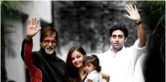 Amitabh Bachchan with Aaradhya, Abhishek and Aishwarya