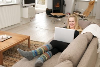 A lady working from home