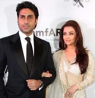 Abhishek and Aishwara at amFAR gala