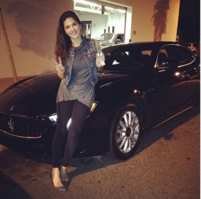 Sunny Leone with her Maserati