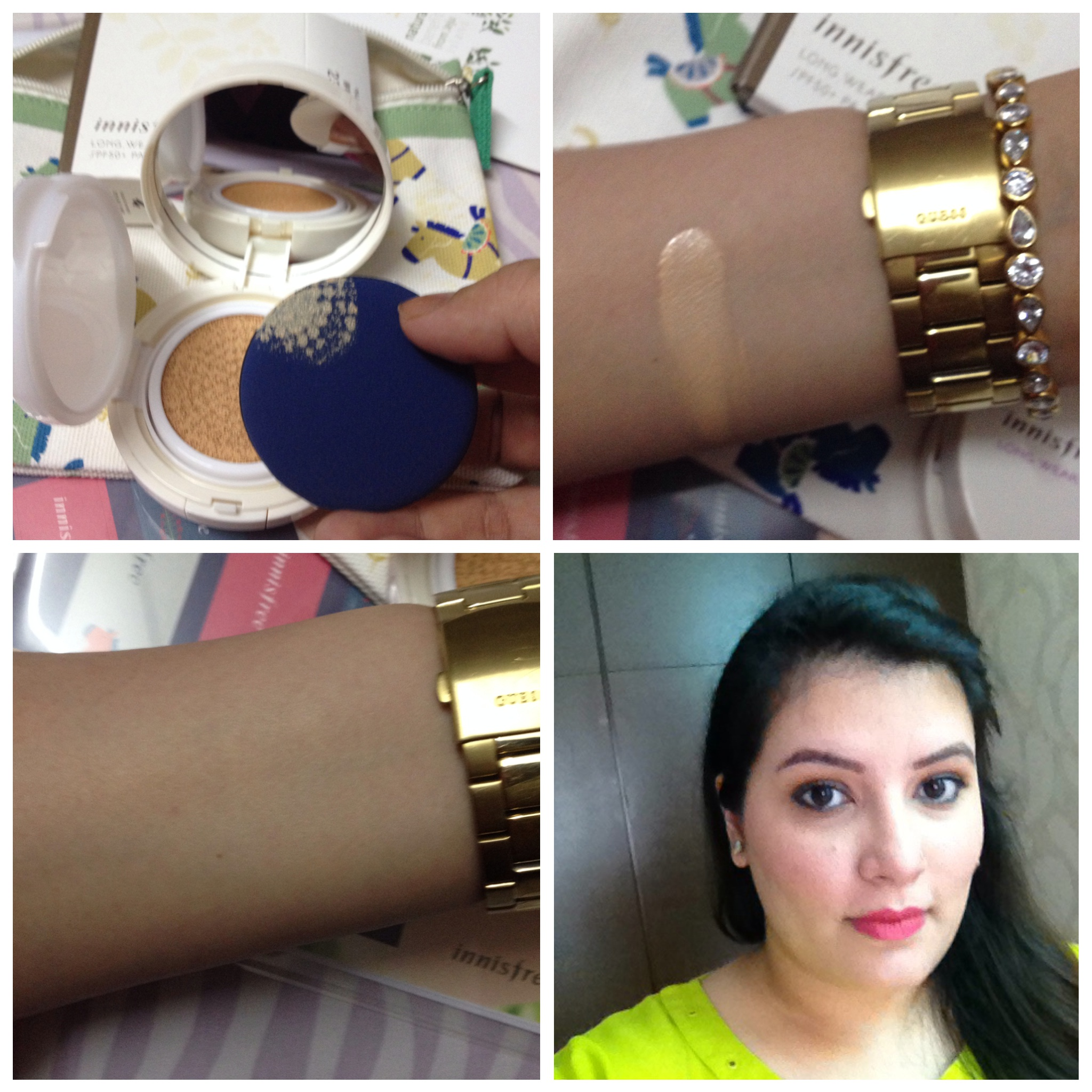 Innisfree Long-wear Cushion foundation swatches and on my face