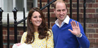 Kate with Prince William and their newborn daughter