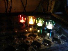 Multi hued tea lights