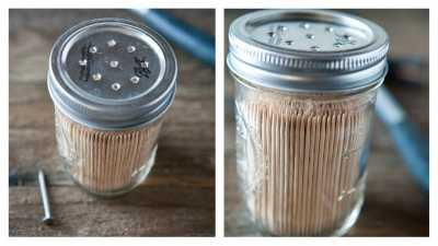 Tooth prick or matchstick holder: Keep your toothpicks or matchsticks organized by storing them in mason jars. Do a small hole in in the lid and now a gentle shake, your toothpicks will easily dispense.