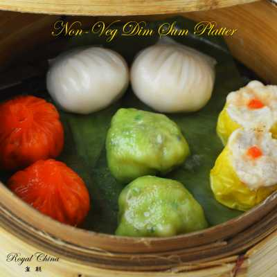Tri colour dimsums at Royal China