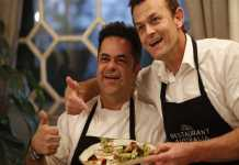 Adam Gilchrist and Vicky Ratnani with their dish