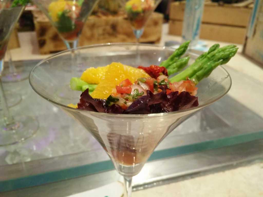 Asparagus with orange, tomato salsa salad