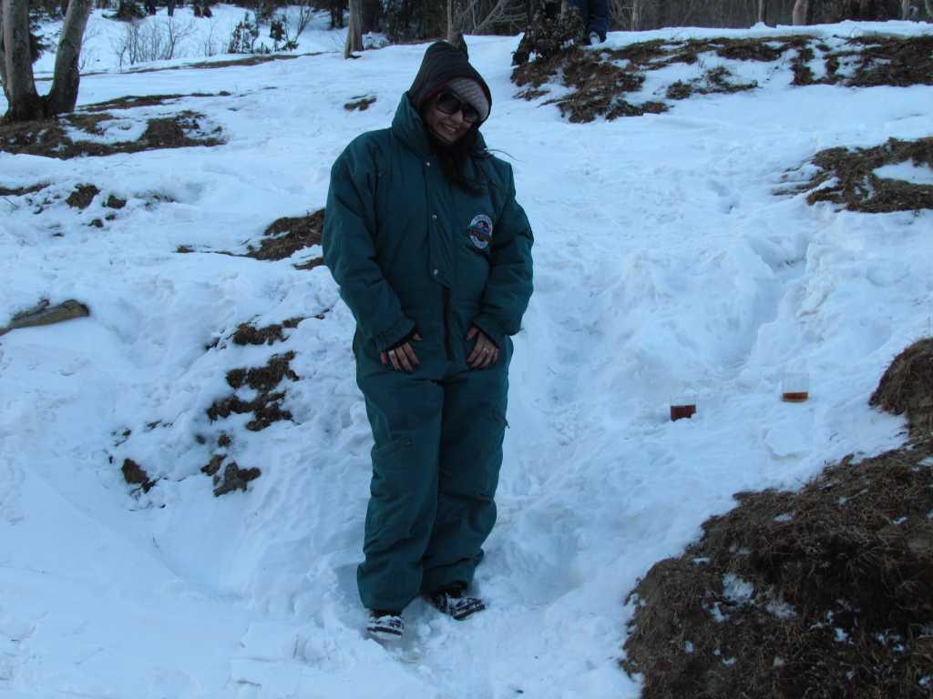 Posing in the snow in Manali