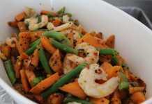Tri Colour prawn, carrot & beans salad