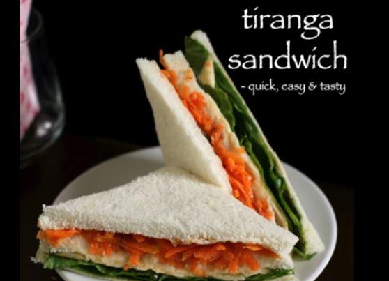 Tri colour sandwich recipe | easy & quick layered sandwich recipes for kids