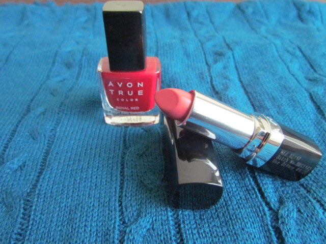 Avon True Color lipstick in Sunny Pink and nail color in Royal red