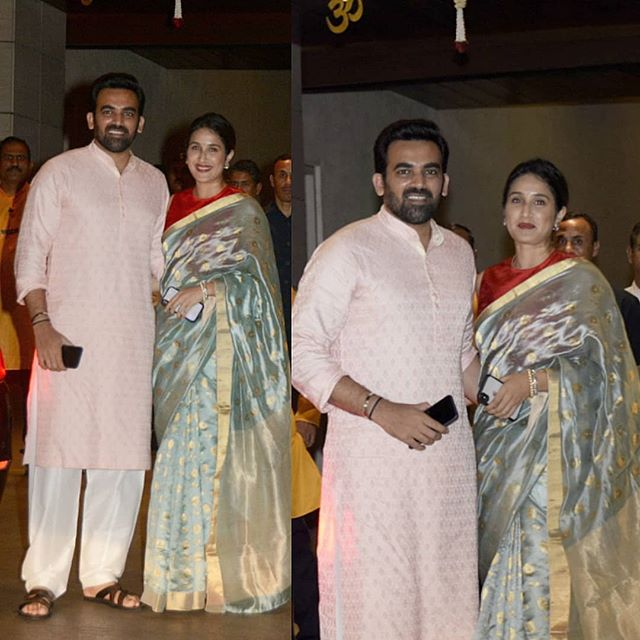 Zaheer Khan with wife Sagarika