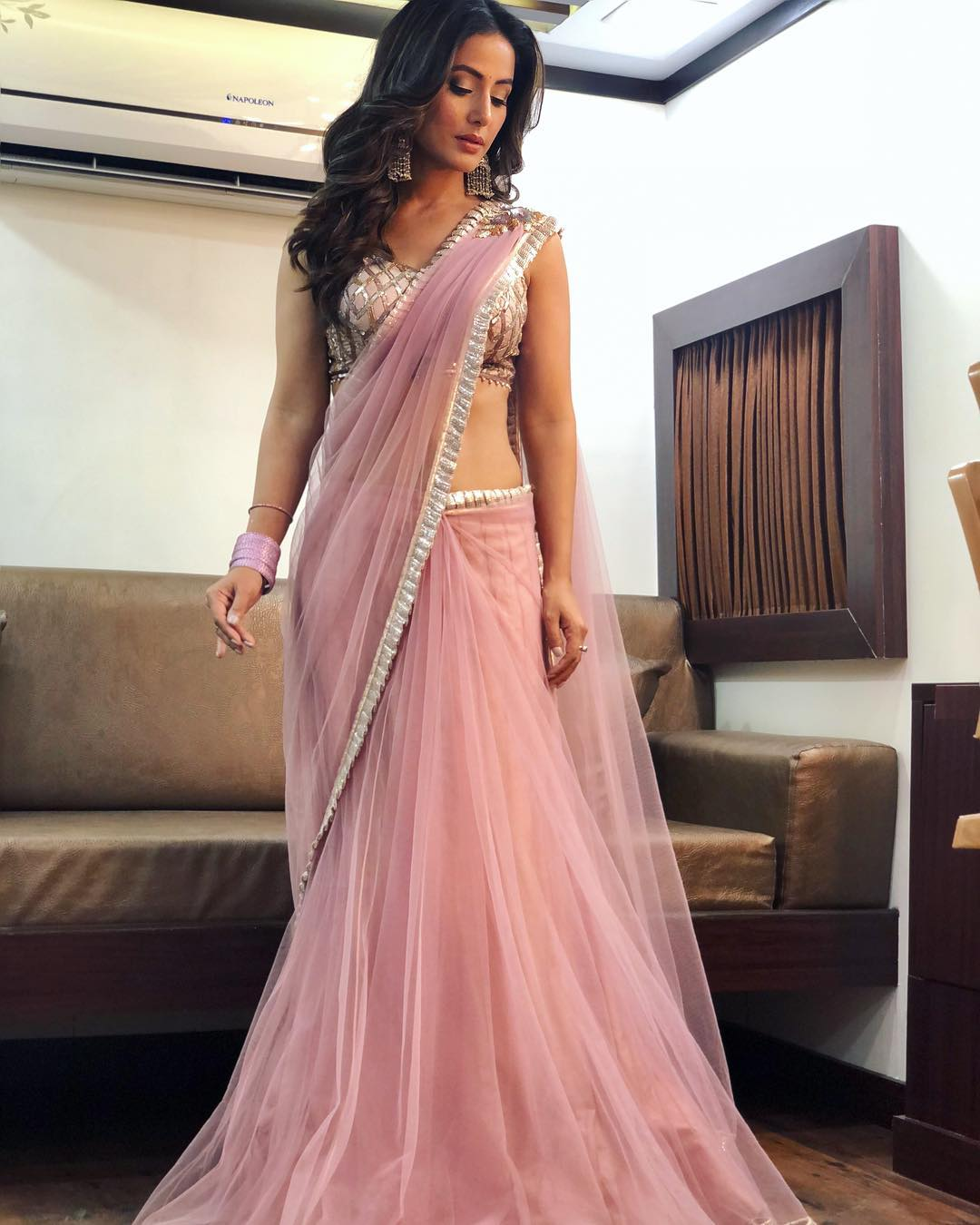 The perfect pink shade lehenga with minimal makeup