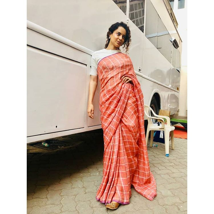 The check style saree
