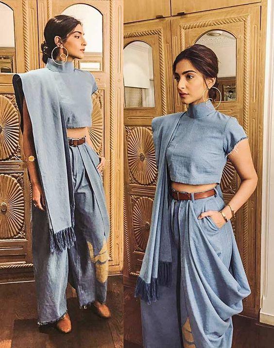 Sonam Kapoor in Denim sari