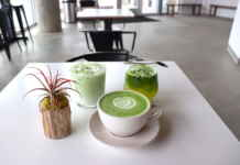 Matcha drinks on the table