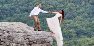 couple on a cliff