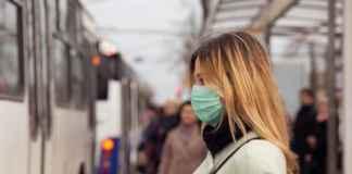 lady wearing mask in public