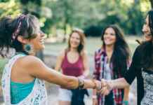 friends celebrating together